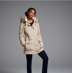 DKNY Faux Fur Trim Fleece Lined Anorak